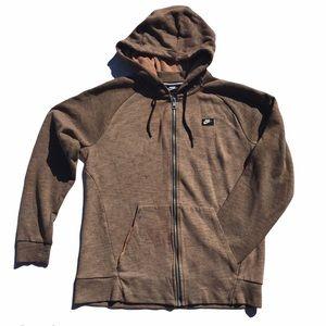 Nike Men's Bleach Dye Zip Up Hoodie Taupe Medium